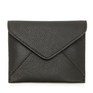 black pebbled faux leather envelope wallet/clutch